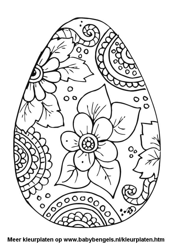 Kleurplaten Voor Kinderen Kleuters En Peuters.Paasei Met Bloemen Kleurplaat Kleurplaat Pasen 44 Kleurplaten Met